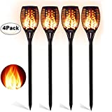 Aityvert Solar Torch Lights, Waterproof Flickering Flame Solar Torches Dancing Flames Landscape Decoration Lighting Dusk to Dawn Outdoor Security Warm Light for Garden Patio Deck Yard Driveway 4 Packs