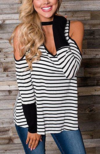 Dnude Tops T Longues Fashion Blanc Rayure Manches Longue Haut Tunique Automne Chemisiers Printemps Shirt V Blouses et paule Col gB4BwXxq