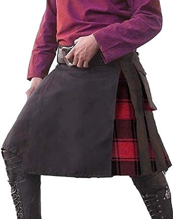 BingSai Falda Escocesa Escocesa con Bolsillos Plisados para Hombre ...