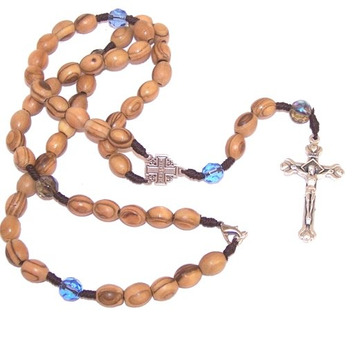 Top quality olive wood beads Rosary / Necklace with Crystal glass beads - com...