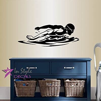 Wall Vinyl Decal Home Decor Art Sticker Swimming Man Swimmer Swim Water Sport Sportsman Room Removable Stylish Mural Unique Design