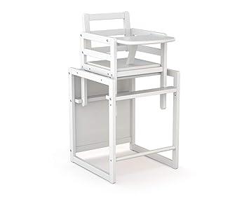 ATELIERS T4 Chaise Haute Bois Transformable Et Moderne Blanc