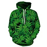 Cayyon 3D Printing Hoodie Women and Men Lovers Cannabis leaves Long Sleeve Hat Clothes S/M