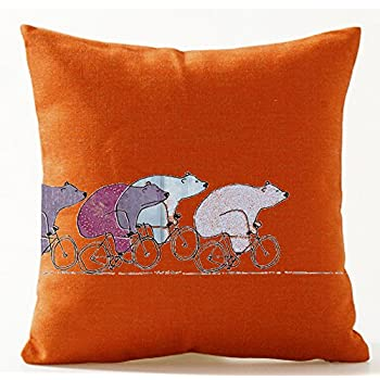 Funny Lovely Wild Animals Abstract Adorable Cartoon Bear Riding A Bike Orange Cotton Linen Throw Pillow Case Personalized Cushion Cover NEW Home Office Indoor Decorative Square 18 X 18 Inches