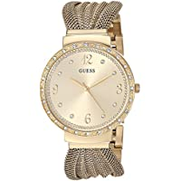 GUESS Women's Stainless Steel Mesh Strap Crystal Accented Watch, Color: Gold-Tone (Model: U1083L2)