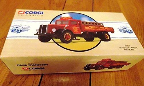 White flatbed platform trailer-truck, Triple XXX root Beer, Model Car, Ready-made, Corgi ()