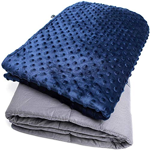 Cheap BEDYOURS 20 lbs Adult Weighted Blanket Premium Soft Breathable Gray Weighted Blanket with Blue Removable Cover and Glass Bead for Improving Sleep 60x80inchs Black Friday & Cyber Monday 2019
