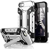 iPhone SE Case, Sextile Wallet Case Impact Resistant Hybrid Armor Defender Rubber Bumper Cover Shell with Card Slot Holder for iPhone 5 5S SE All Carriers (Silver)