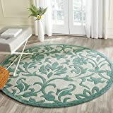 "Safavieh Modern Art Collection MDA635A Handmade Ivory and Light Blue Polyester Round Area Rug, 6 feet 6 inches in Diameter (6'6"" Diameter)"