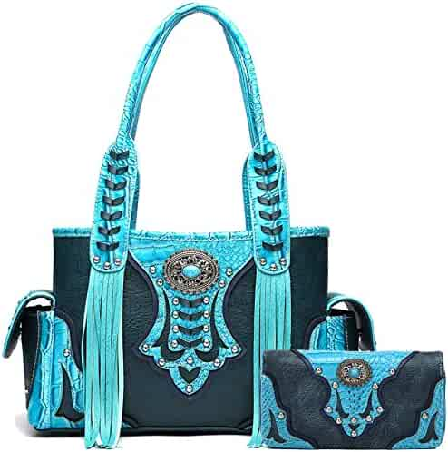 Western Style Cowgirl Fringe Concealed Purse Conchos Totes Country Women  Handbag Shoulder Bags Wallet Set 3f3126d0c592f
