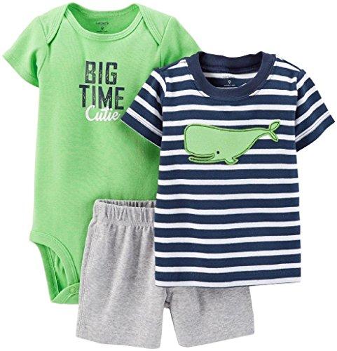 Carter's Baby Boys' 3 Piece Striped Layette Set (Baby) - Whale - Newborn