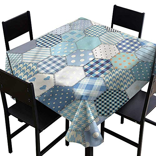 - haommhome Square Tablecloth Cabin Quilt Pattern Retro Style Soft and Smooth Surface W36 xL36 Washable Polyester - Great for Buffet Table, Parties, Holiday Dinner, Wedding & More