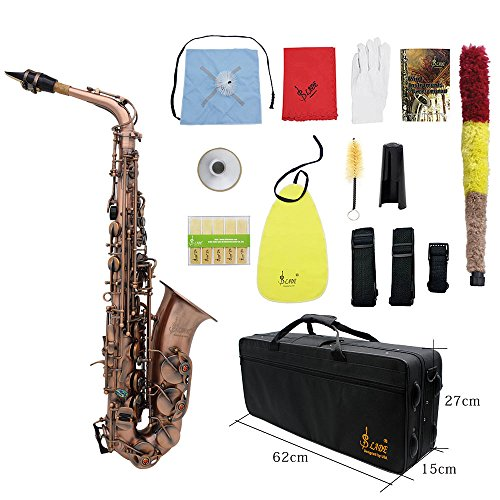 ammoon Antique Finish Bend Eb E-flat Alto Saxophone Sax Shell Key Carve Pattern with Case Gloves Cleaning Cloth Straps Brush