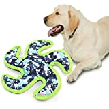 Langxian Squeaky Dog Flying Disc Toys, Tough Interactive Squeak Dog Toys - Pet Training Props Christmas Cute and Soft Cloth Dog Toy (Green)