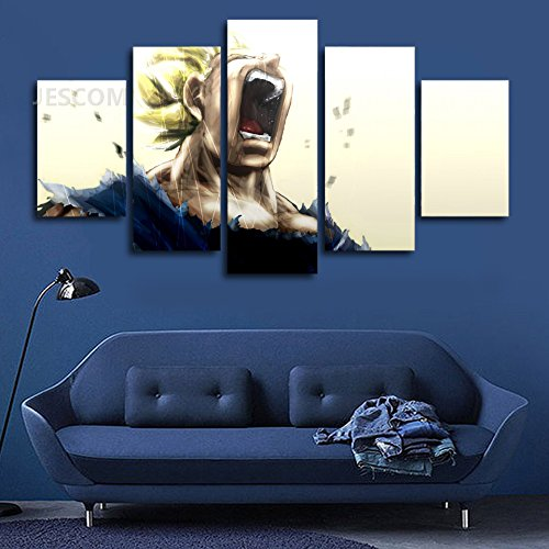 JESC Canvas Painting Wall Painting 5 Pieces Dragon Ball Z Painting Modern Wall Art With Frame for Room Wall Decor (40x60cmx2,40x80cmx2,40x100cmx1)