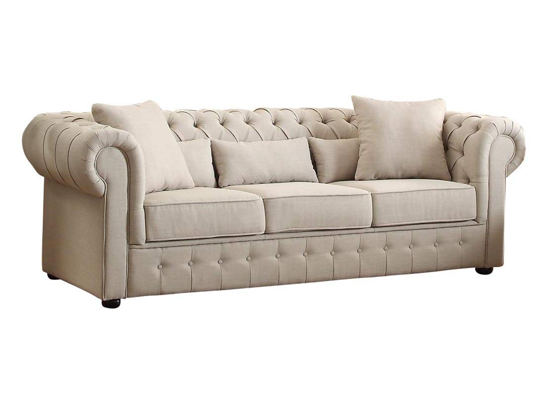Amazon.com: Scotlynn Button Tufted Sofa in Natural Fabric ...