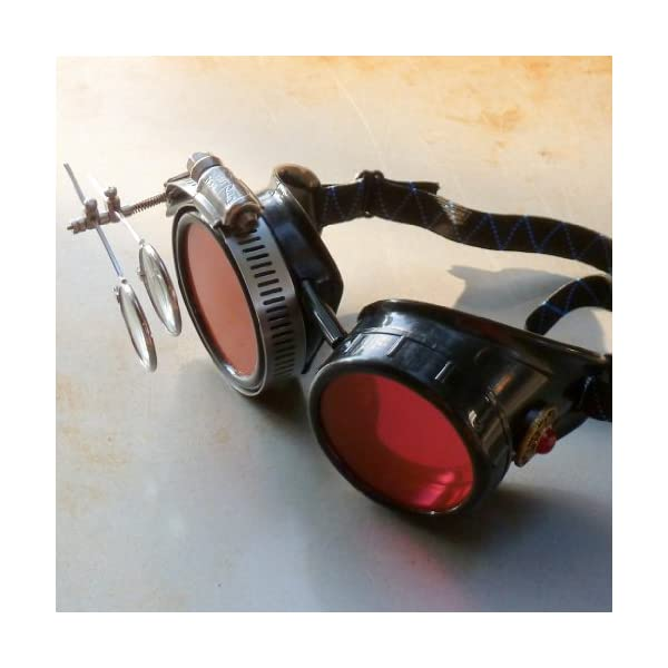 Steampunk Victorian Style Goggles with Vintage Design and Double Clip on eye Loupe 5