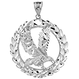 925 Sterling Silver Patriotic Charm Olive Wreath and American Eagle Pendant (2.33 inches)