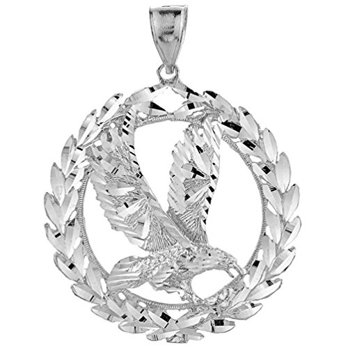 Animal Kingdom 925 Sterling Silver Patriotic Charm Olive Wreath and American Eagle Pendant (2.33 inches)