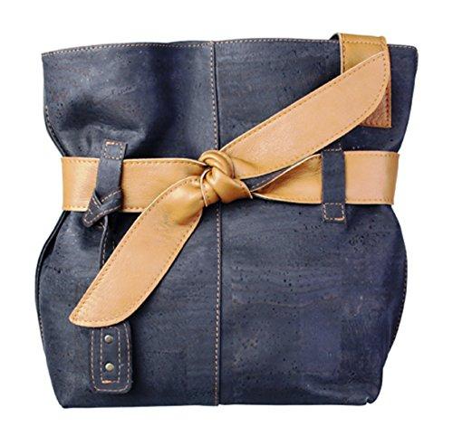 Artelusa Cork Big Bow Shoulder Handbag Two Tone Black/Natural Eco-Friendly Handmade in Portugal