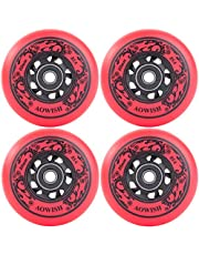 AOWISH 4-Pack Inline Skate Wheels Outdoor Asphalt Formula 85A Hockey Roller Blades Replacement Wheel with Bearings ABEC-9 and Aluminum Spacers