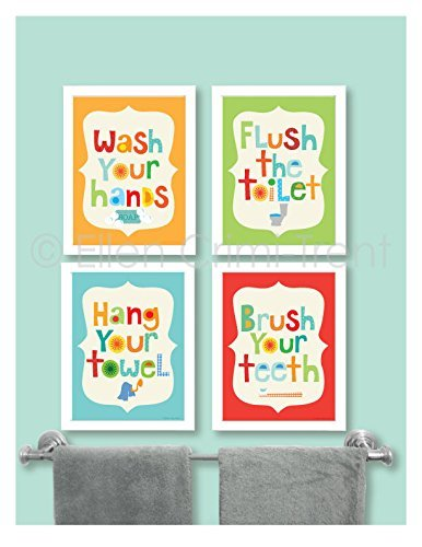 amazon com kids bathroom manners wall art bathroom art kids rh amazon com