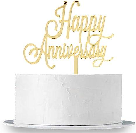 Amazon Com Innoru Happy Anniversary Cake Topper Gold Mirror Wedding Anniversary Birthday Party Decoration Photo Props Health Personal Care
