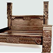 Carved Panel Pillar Bed, hand crafted from solid Indian White Rosewood