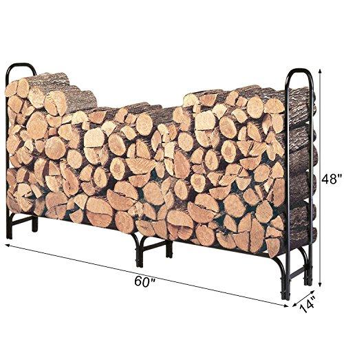 HollyHOME 5 Feet Medium Heavy Duty Outdoor Firewood Racks Steel Wood Storage Log Rack Holder