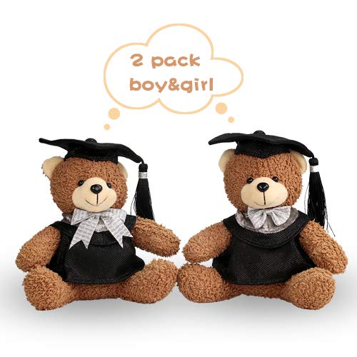 YING LING CRAFTS 2 Pack Cute Teddy Bears,Black Master Graduation Cap,Stuffed Soft Animal,Boy Girls Adorable Bear for Kids Friends Students Graduation Gift,8 Inches -
