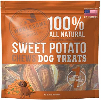 Wholesome Pride Sweet Potato Chews - All Natural Healthy Dog Treats - Vegan, Gluten and Grain-Free Dog Snacks, 16 Ounce