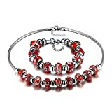 Bling Toman Stainless Steel Bracelets Sets Pulseira Beads Charm Necklace Set For Women Glass/Crystal Beads Jewelry (Red)