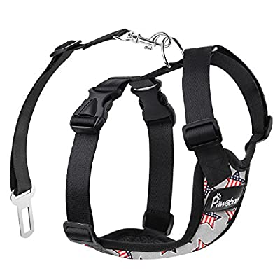 PAWABOO Dog Safety Vest Harness, Pet Car Harness Vehicle Seat Belt with Adjustable Strap and Buckle Clip, Easy Control for Driving Traveling Safety for Small Medium Dogs Cats