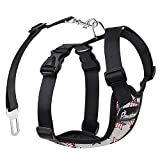PAWABOO Dog Safety Vest Harness, Pet Dog Adjustable Car Safety Mesh Harness Travel Strap Vest with Car Seat Belt Lead Clip, Large Size, Gray with US Flag