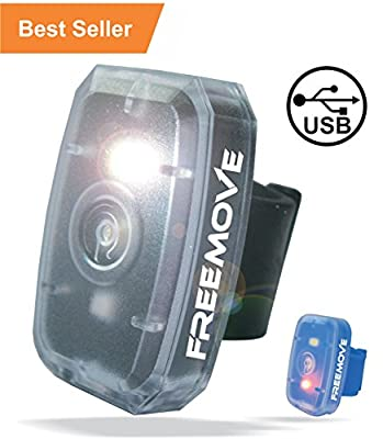 FREEMOVE Led Safety Light High Visibility Running Cycling Gear USB Rechargeable, 4 Flashing Modes, Water Resistant Clip on Running Light or Pet Collar, Bike Tail Warning Light, Hiking Helmet Light