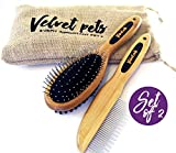 VelvetPets - Dog Brushes For Shedding and Grooming - Professional Deshedding Set For Short and Long Hair - Dual Sided Pin and Bristle Brush and Comb - for Small, Medium and Large Dog, Pet, Cats