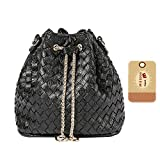 Goodbag Boutique Women Fashion Drawstring Bucket Bags Mini Tote Handbag Chain Shoulder Bag Casual Crossbody Bag Satchel Purse (Black)