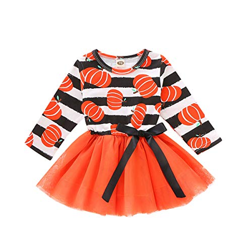 Halloween Outfits For Kids (Toddler Baby Halloween Outfits Kids Girls Pumpkin Print Long Sleeve Dress Striped Skirts Halloween Day Clothes (1T/2T,)