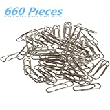 Paper Clips, Smooth 660 Pieces Sliver Paperclips, Steel Wire .Medium 28mm .560 Pieces Jumbo Sizes 50mm,100 Pieces Universal Paper Clip.Office Clips for School Personal Document Organizing