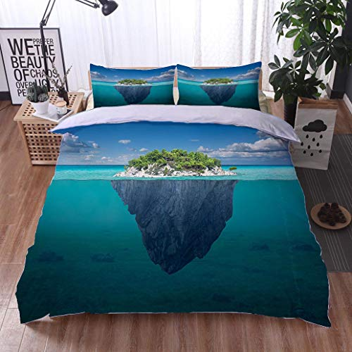 - BEISISS Bed Comforter - 3-Piece Duvet -All Season, Beautiful Solitude Island with Green Trees in The Ocean,HypoallergenicDuvet-MachineWashable -Twin-Full-Queen-King-Home-Hotel -School
