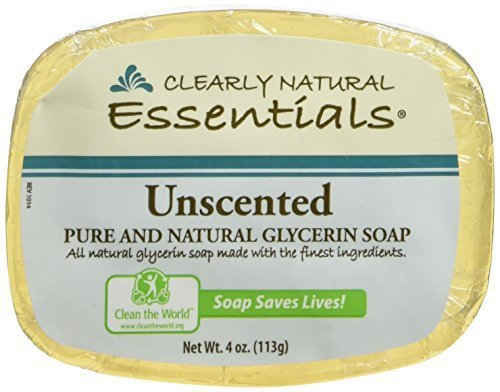 Clearly Natural Glycerin Bar Soap, Unscented, 4oz Bar, Pack of 6 - Glycerin Bar Soap Value Pack