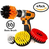 BasicBrush Drill Brush Attachment Kit - Stiff Medium Soft Nylon Bristle - Turbo Spin Power Scrubber - Pool Tile Floor Brick Ceramic Marble Patio Furniture Car Wheel Bathroom Toilet Cleaner - Set of 4