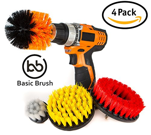 BasicBrush Drill Brush Attachment Kit - Stiff Medium Soft Nylon Bristle - Turbo Spin Power Scrubber - Pool Tile Floor Brick Ceramic Marble Patio Furniture Car Wheel Bathroom Toilet Cleaner - Set of 4 (And Cleaner Patio Brick)