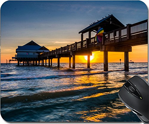 MSD Natural Rubber Mousepad Mouse Pads/Mat design 33722674 Fishing pier in the Gulf of Mexico at sunset Clearwater Beach - Shipping Clearwater