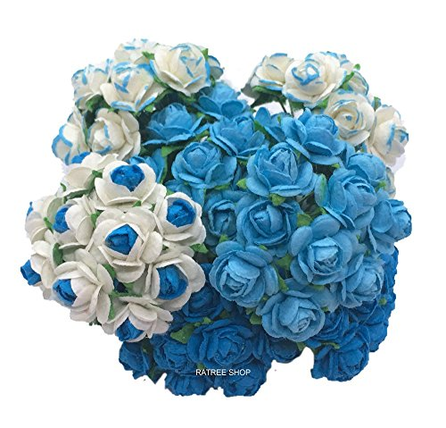 100 Mixed Blue Tone Color 10 mm Artificial Mulberry Paper Mini Rose Flower Wedding Scrapbook Diy Craft Scrapbook Bouquet Craft Stem Handmade Rose Valentines Anniversary Embellishment, Products From Thailand, By RATREE (Blue Roses Flowers)