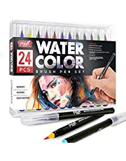 Paint Mark Real Brush Pens, 24 Colors for Watercolor Painting with Flexible Nylon Brush Tips, Calligraphy and Drawing with Water Brush, Paint Markers for Coloring