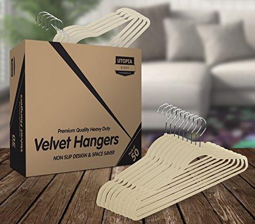 Utopia Home Premium Velvet Hangers - Pack of 50 - Heavy Duty - Non Slip - Velvet Suit Hangers - Ivory