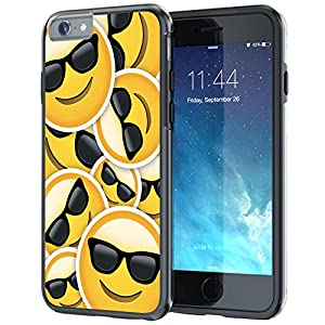 iPhone 6 6s Case, True Color Emoji Cool Glossy Sunglasses 3D Printed on Hybrid Cover Hard +Soft Slim Durable Protective TPU Bumper +Stylus & Screen Protector [Multi Collection]