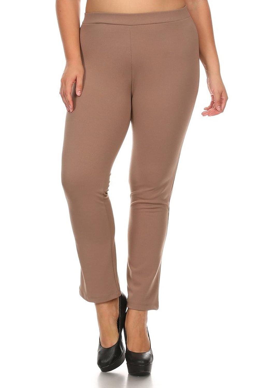 4GOG Apparel Women's Plus Size Long Stretch Straight Leg Pants