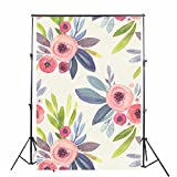 KonPon 5x7ft Pink Painting Flowers Photo Backdrop Hand Painted Wallpaper Photography Backdrop Photo Booth Studio Props Newborns Background KP-268